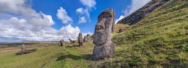 Rano Raraku. Panoramic view of moais at the quarry of Rano Raraku, Easter Island, Chile royalty free stock photo