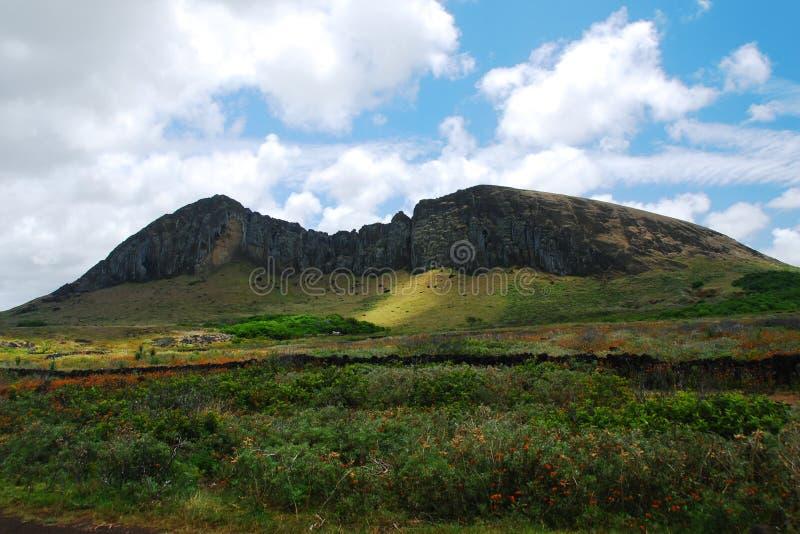 Rano Raraku quarry on Easter Island (Rapa Nui) royalty free stock images