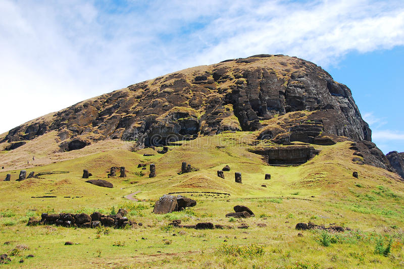Rano Raraku quarry Easter Island (Rapa Nui) Chile. Rano Raraku quarry where the moai of Easter Island (Rapa Nui) were carved stock photos