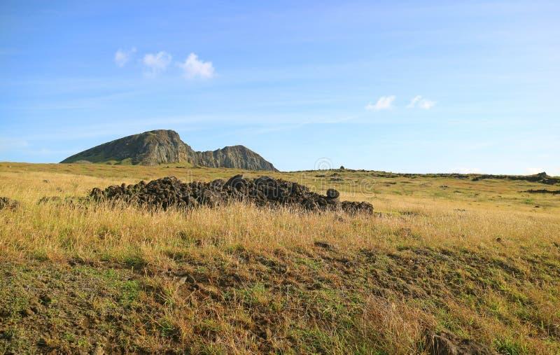 Rano Raraku Volcano, the Moai Quarry on Easter Island of Chile. Beauty in Nature stock photos