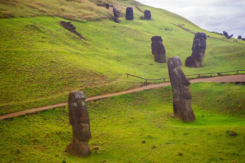 Rano Raraku volcano, the quarry of the moai with many uncompleted statues. Rapa Nui National Park, Easter Island, Chile. UNESCO W stock photography