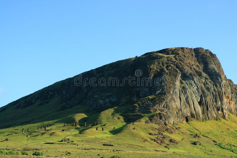 The Rano Raraku volcano, quarry of Moai statue in the ancient time of Easter Island, Archaeological site in Chile. South America royalty free stock image