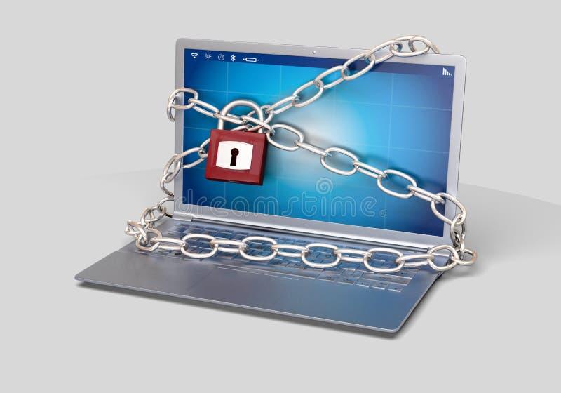 Ransomware有挂锁的没有病毒被乱砍的计算机 免版税库存照片