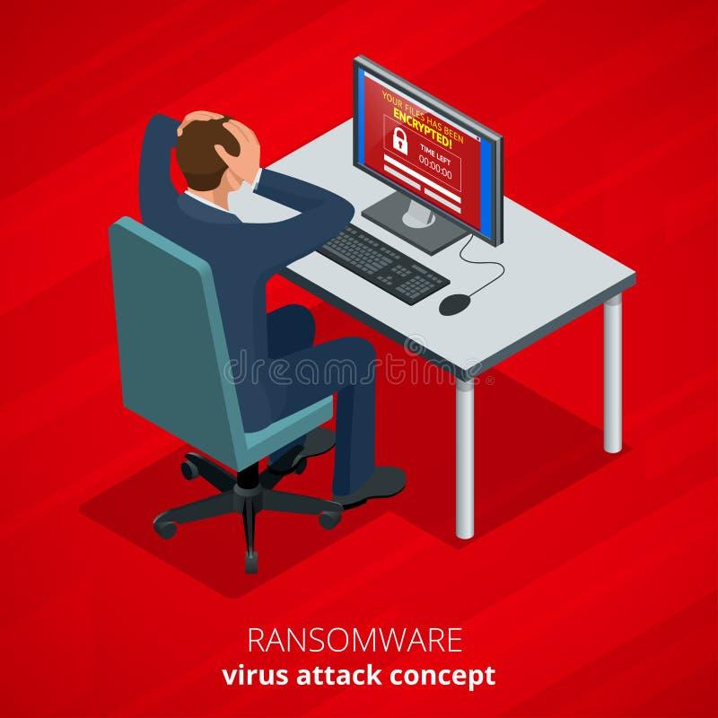 Ransomware, κακόβουλο λογισμικό που εμποδίζει την πρόσβαση στα στοιχεία θυμάτων Ο χάκερ επιτίθεται στο δίκτυο Isometric διάνυσμα διανυσματική απεικόνιση