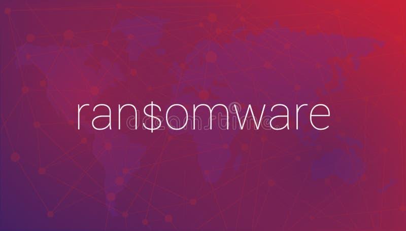 Ransomware слова на предпосылке карты мира иллюстрация штока