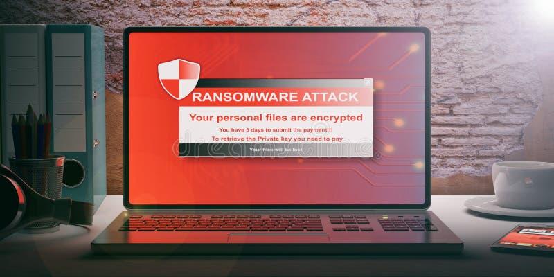 Ransomware-Alarm auf einem Laptopschirm Abbildung 3D vektor abbildung