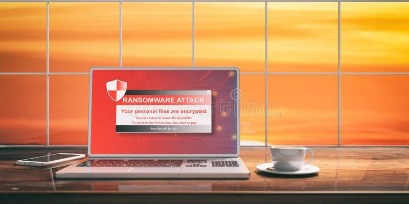 Ransomware-Angriff auf einem Laptopschirm Unscharfer Sonnenunterganghintergrund Abbildung 3D lizenzfreie abbildung