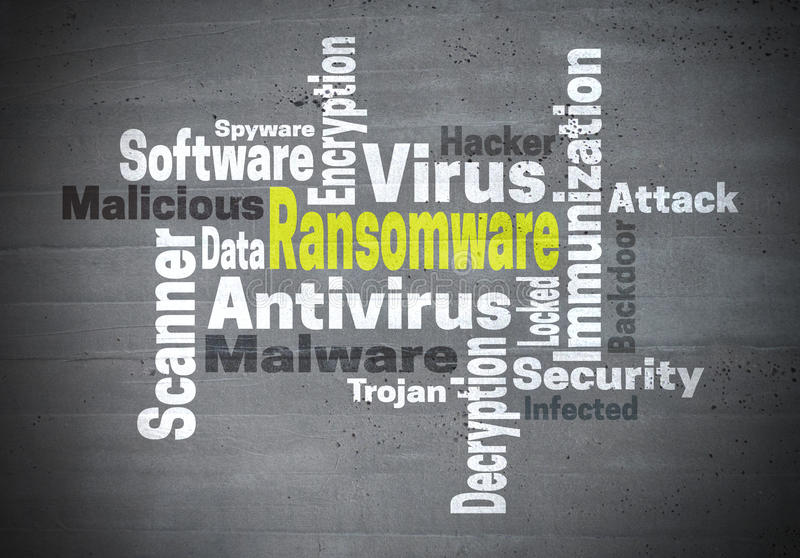 Ransomware antivirus immunization word cloud concept.  royalty free stock images