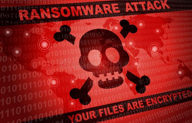 Ransomware ataka malware hackera tło dookoła świata royalty ilustracja