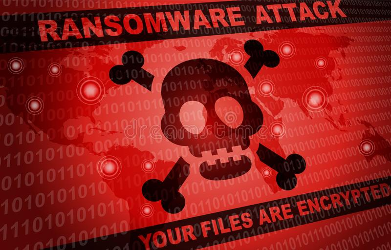 Ransomware attack malware hacker around the world background royalty free illustration