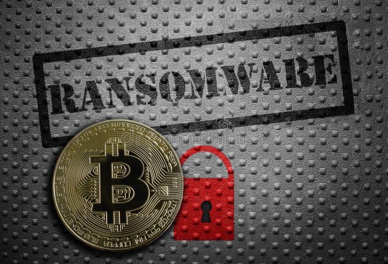 Ransomware bitcoinbegrepp arkivbild