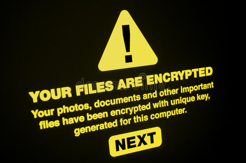 Ransomware. Close up of Your Files Are Encrypted on the Screen stock photos