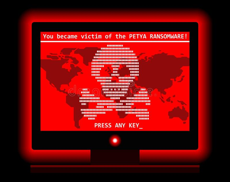 Ransomware computer virus cyber attack screen cool illustration stock illustration