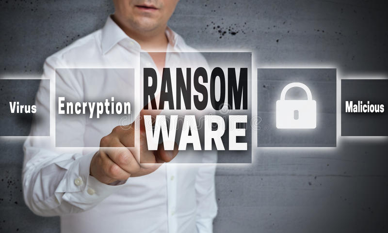 Ransomware concept background is shown by man.  stock photo