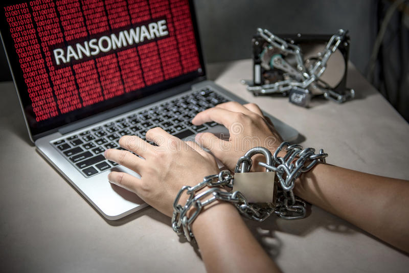 Ransomware cyber attack on computer laptop. Hard disk file locked with monitor show ransomware cyber attack internet security breaches on computer laptop, user royalty free stock photography