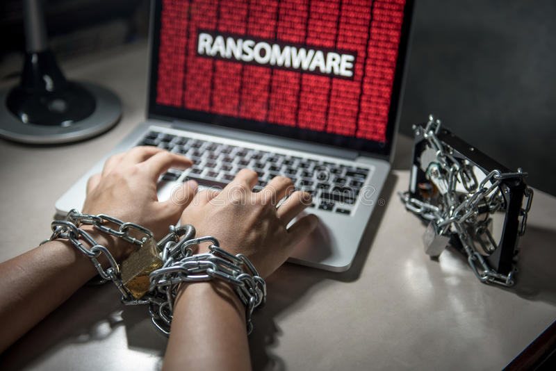 Ransomware cyber attack on computer laptop. Hard disk file locked with monitor show ransomware cyber attack internet security breaches on computer laptop, user stock photography