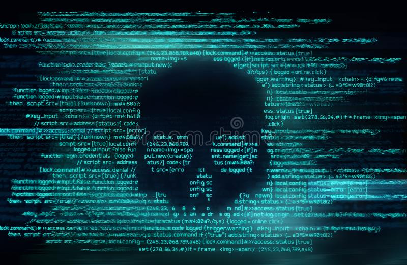 Ransomware et code entaillant le fond illustration stock