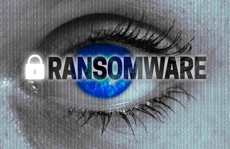 Ransomware eye looks at viewer concept.  royalty free stock photography