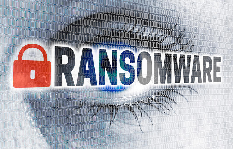 Ransomware eye with matrix looks at viewer concept.  stock images