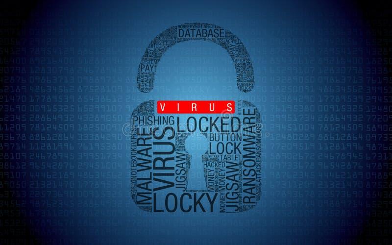 Ransomware ingen virus hackad dator med hänglåset vektor illustrationer