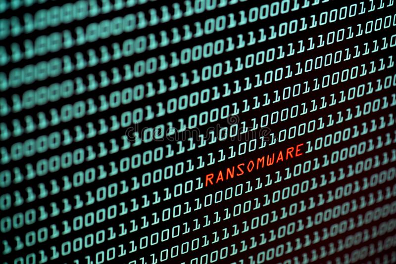 Ransomware oder Text- und binär Code-Konzept Wannacry vom DES lizenzfreies stockbild