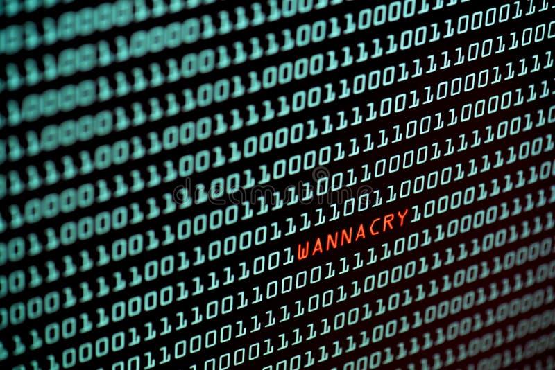 Ransomware oder Text- und binär Code-Konzept Wannacry vom Tischrechnerschirm, selektiver Fokus, Sicherheitstechnikkonzept stockfoto