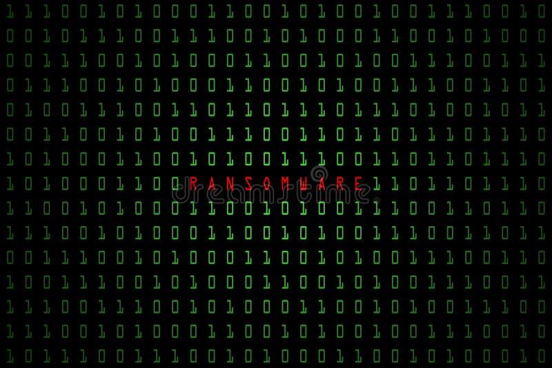 Ransomware ord med digitalt m?rker f?r teknologi eller svartbakgrund med bin?r kod i ljus - gr?n f?rg 1001 royaltyfri illustrationer