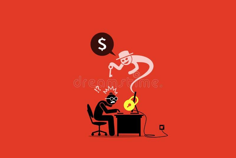 Ransomware que trava um computador e que pede o dinheiro ilustração do vetor