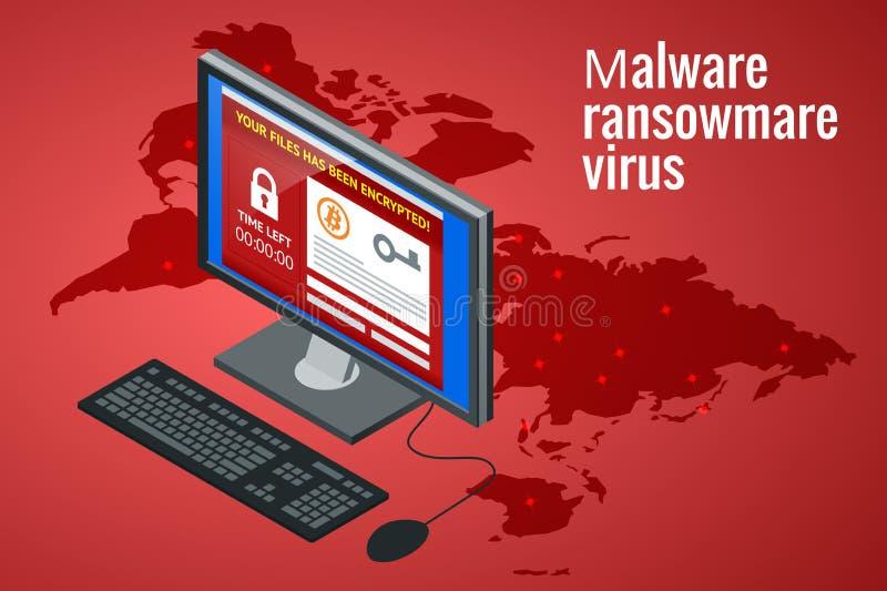 Ransomware, software malévolo que bloquea el acceso a los datos de las víctimas El pirata informático ataca la red Vector isométr stock de ilustración