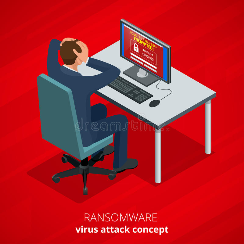 Ransomware, software malévolo que bloquea el acceso a los datos de las víctimas El pirata informático ataca la red Vector isométr ilustración del vector