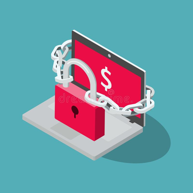 Ransomware symbol with laptop, red padlock and chain. Isolated on blue background. Flat design, easy to use for your website or presentation stock illustration