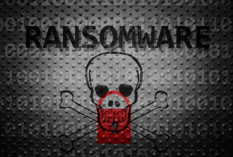 Ransomware crime concept. Ransomware text with lock and skull on textured backgroun royalty free stock photography