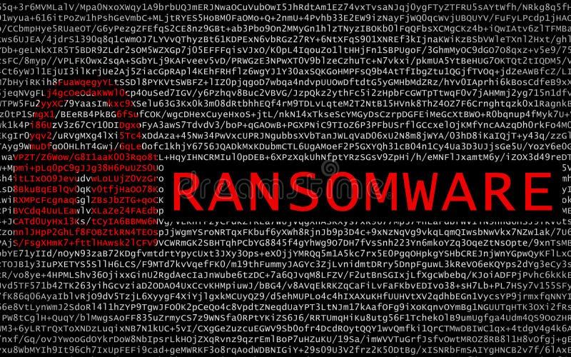 Ransomware text med det röda låset över kodad text arkivfoton