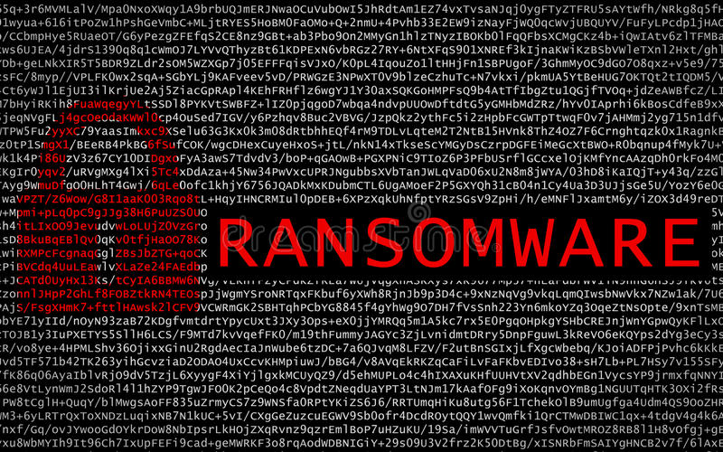 Ransomware text with red lock over encrypted text stock photos