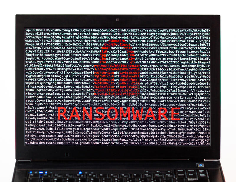 Ransomware text with red lock over encrypted text on a laptop sc. Reen against a white background - cyber crime stock image
