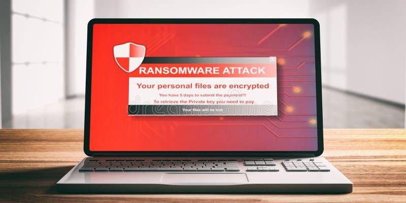 Ransomware, Virenbefallalarm auf einem Computerlaptopschirm, hölzerner Schreibtisch, Unschärfebürohintergrund, Vorderansicht vektor abbildung