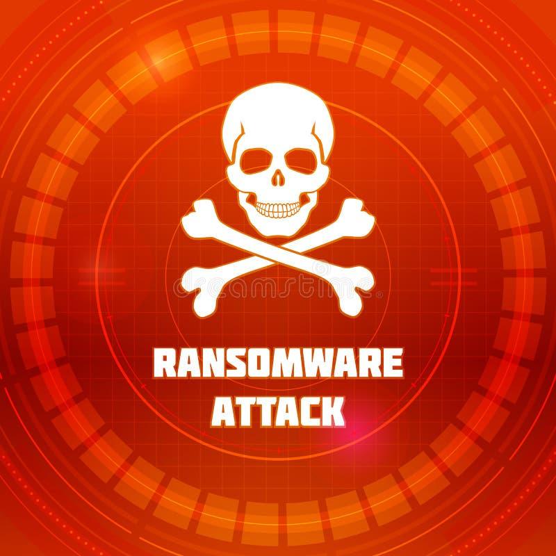 Ransomware-Virus, Emblem des Schadsoftwareangriffs Schädel und gekreuzte Knochen auf rotem Hintergrund von HUD-Cyberspace Muster  stock abbildung