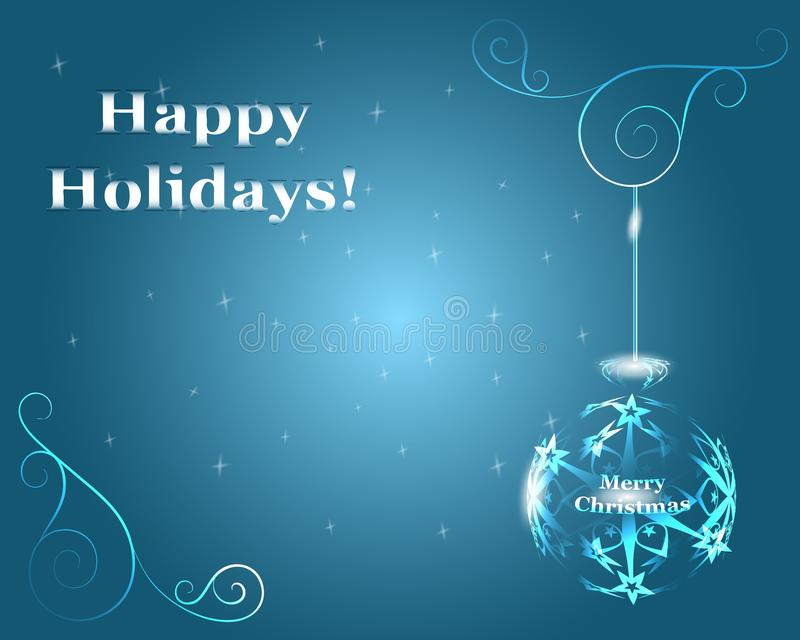Ransparent Christmas ball made of snowflakes hanging on a blue b. Happy Holidays! Merry Christmas! Transparent Christmas ball made of snowflakes hanging on a stock illustration
