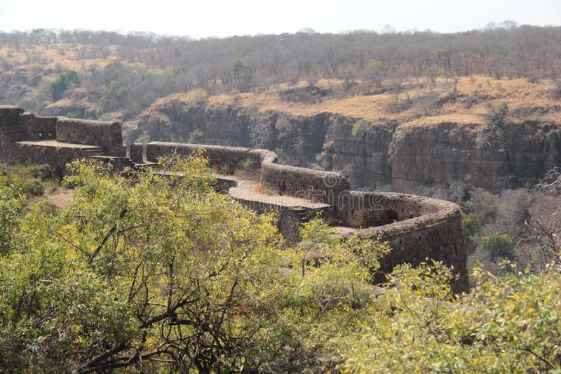 Protection walls of Ranthambore Fort. Ranthambore Fort lies within the Ranthambore National Park, near the town of Sawai Madhopur, the park being the former royalty free stock photos