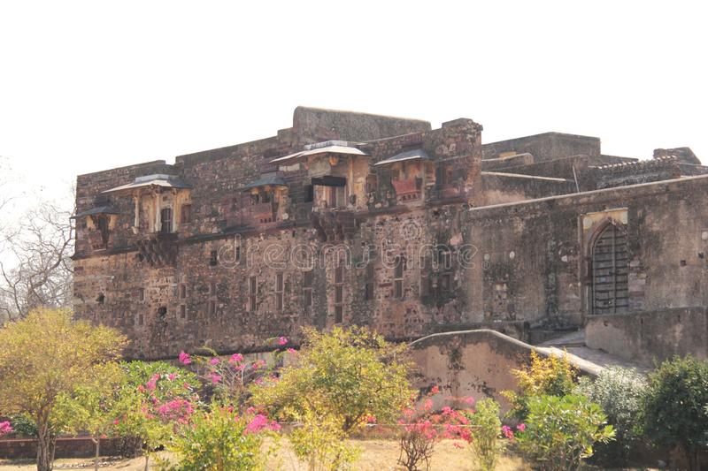 Ruins of the palace of Ranthambore Fort. Ranthambore Fort lies within the Ranthambore National Park, near the town of Sawai Madhopur, the park being the former stock images