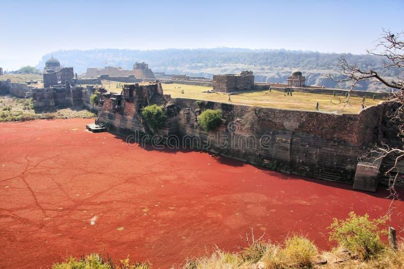 Ranthambore fort och röd sjö, Indien royaltyfri bild