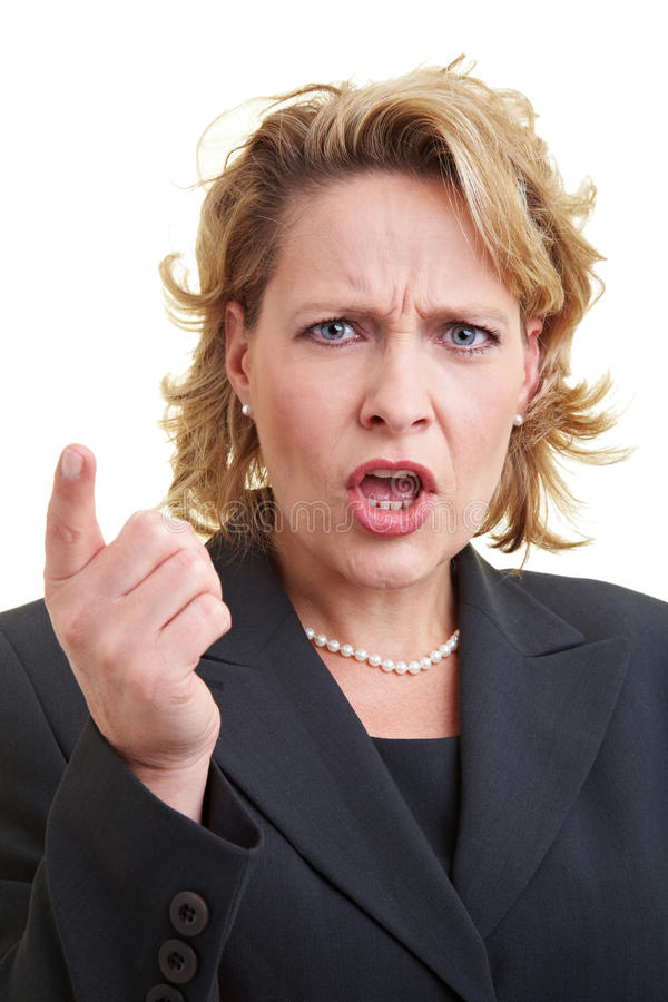 Ranting business woman stock image