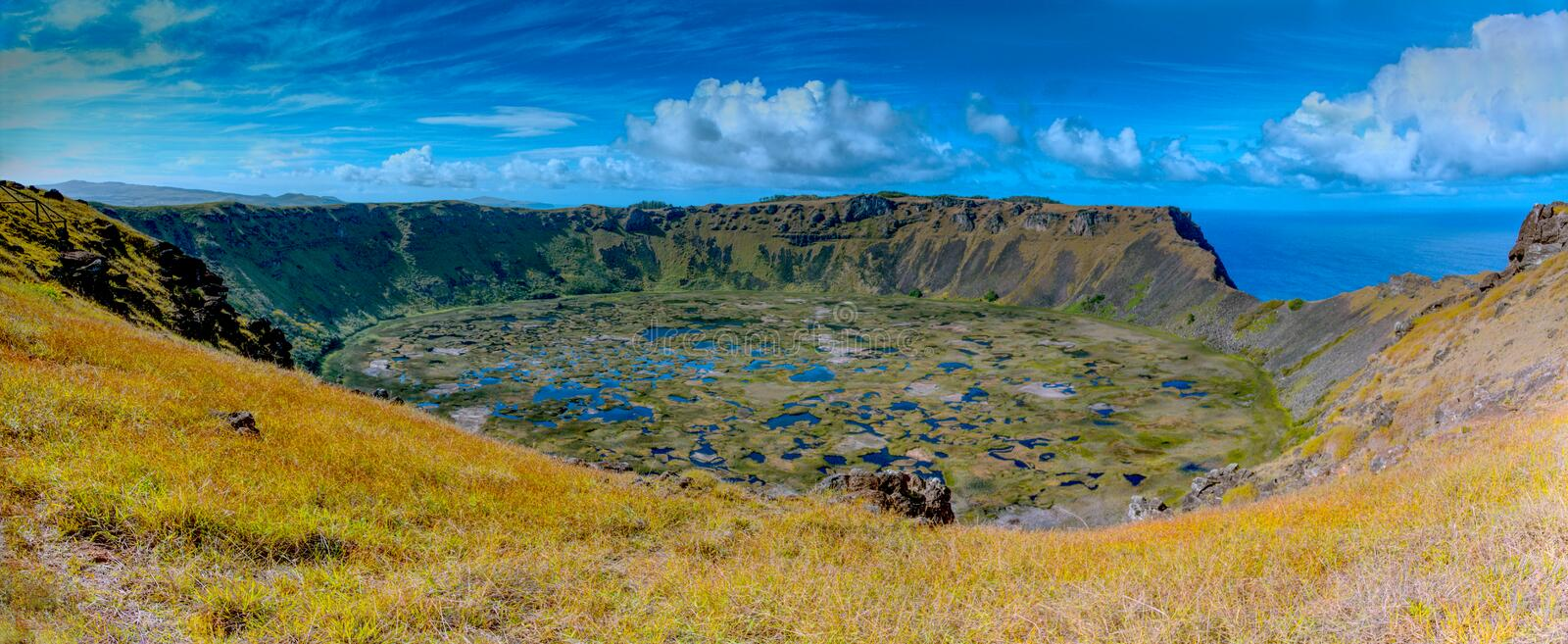 Ranu Kau Crater on Easter Island. World Heritage Site of Rapa Nui National Park. A panoramic view of the Ranu Kau Crater and its wetlands below royalty free stock images