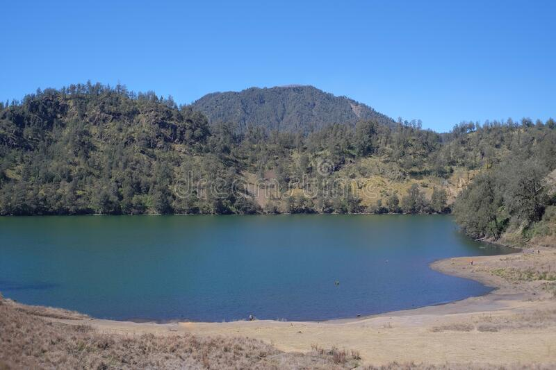 Ranu Kumbolo, a lake located within the Bromo, Tengger, Semeru National Park. The lake which is abundant in clean water is a camping spot for climbers who head royalty free stock photography