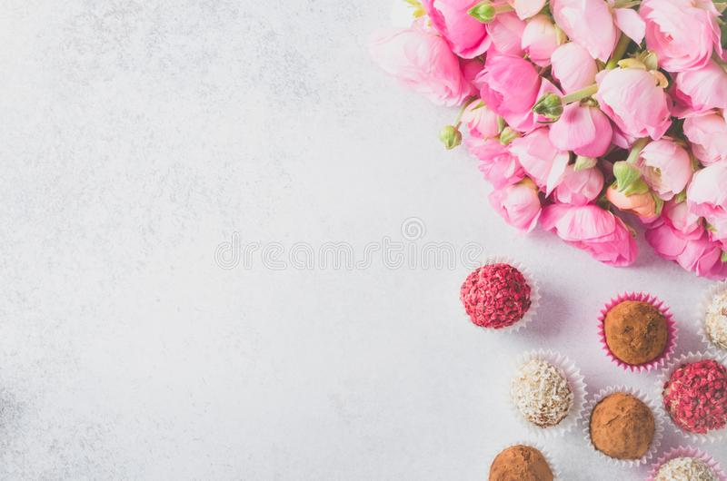 Ranunculus bouquet and homemade balls royalty free stock photography