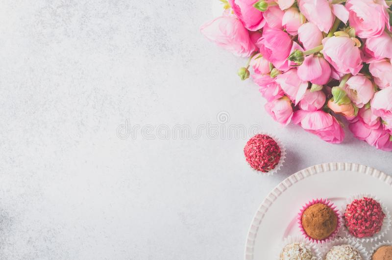 Ranunculus bouquet and homemade balls royalty free stock photos