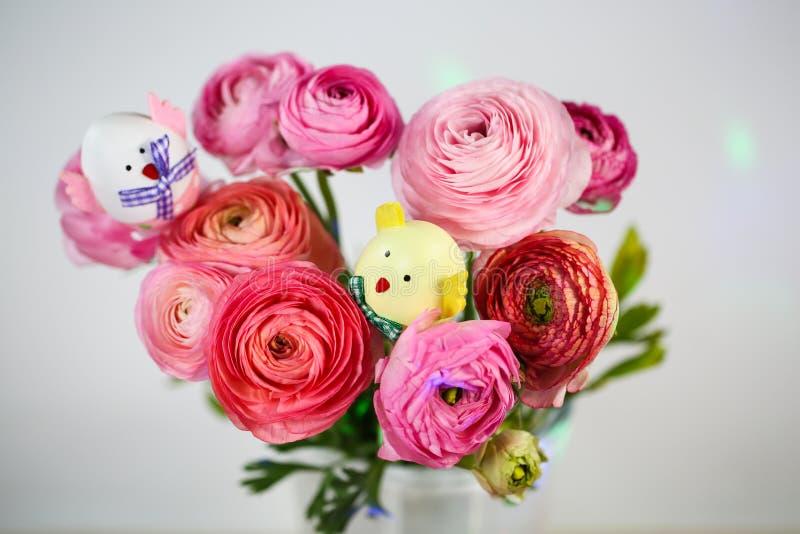 Ranunkeln en el rosa, macro, primavera, asiaticus del ranúnculo de las flores con el huevo de Pascua fotografía de archivo