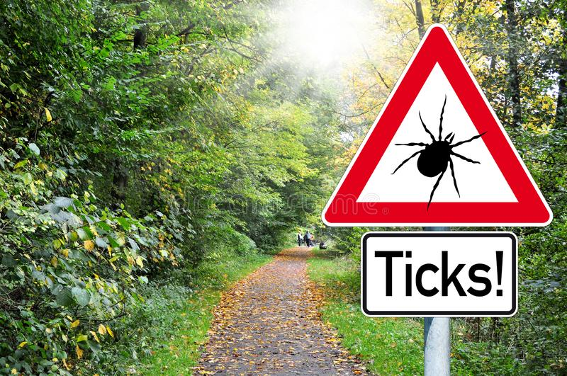 Raod sign in the forest with the german word for beware of ticks - Achtung Zecken. Attention Raod sign in the forest with beware of ticks royalty free stock images