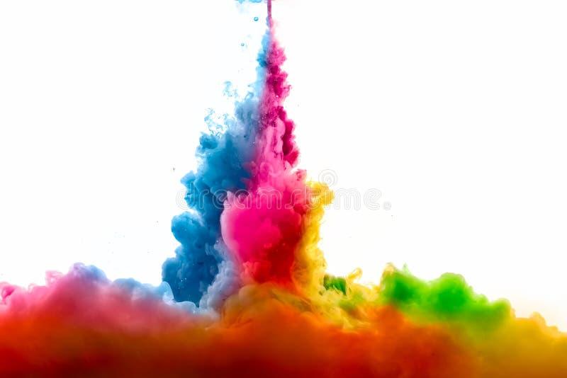 Raoinbow av akrylfärgpulver i vatten illustrationen för fractals för explosionen för abstrakt bakgrundsfärg texturerade den digit royaltyfri bild