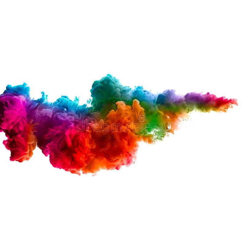 Raoinbow di inchiostro acrilico in acqua Esplosione di colore fotografia stock libera da diritti